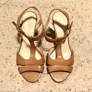 Franco Sarto | Leather T-Strap Heeled Sandals